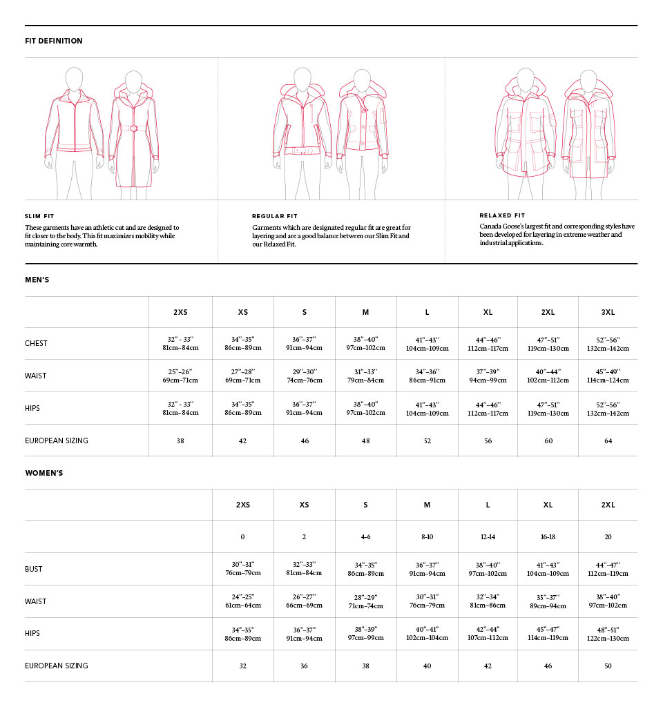 canada goose chilliwack size guide